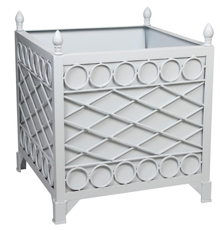 NEW!  PALE BLUE/GRAY TRELLIS/CIRCLE PROVENCE PLANTER