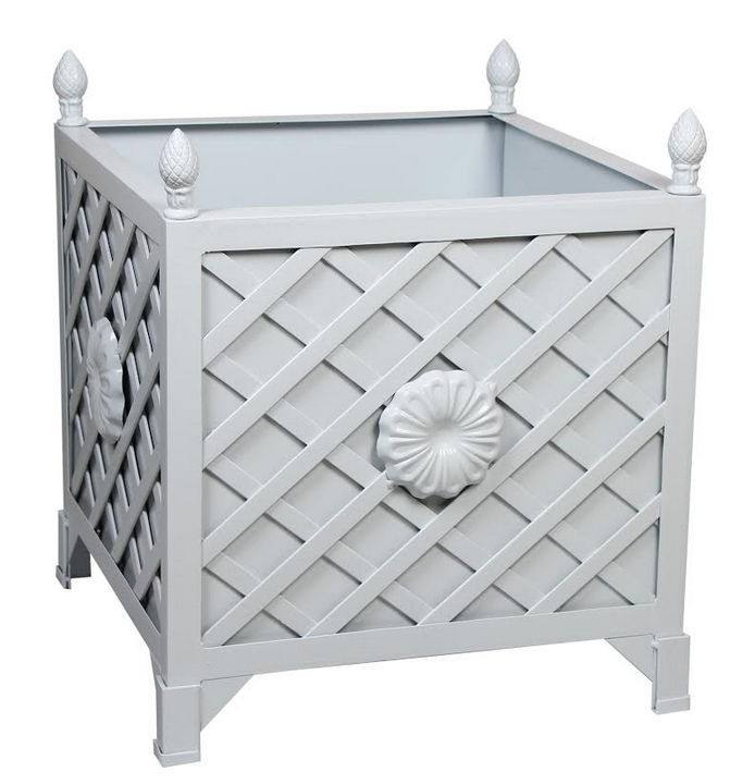 NEW!  PALE BLUE/GRAY TRELLIS/FLORA PROVENCE PLANTER
