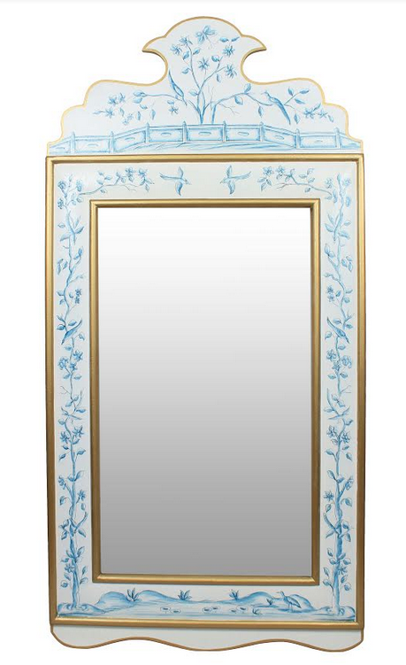 Ivory Blue and Gold Wide Floral Mirror