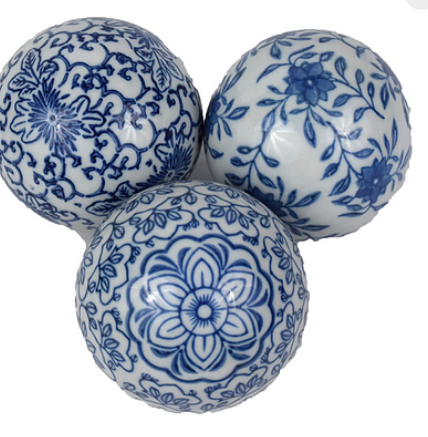 NEW! Fabulous blue/white porcelain balls (set of 3)