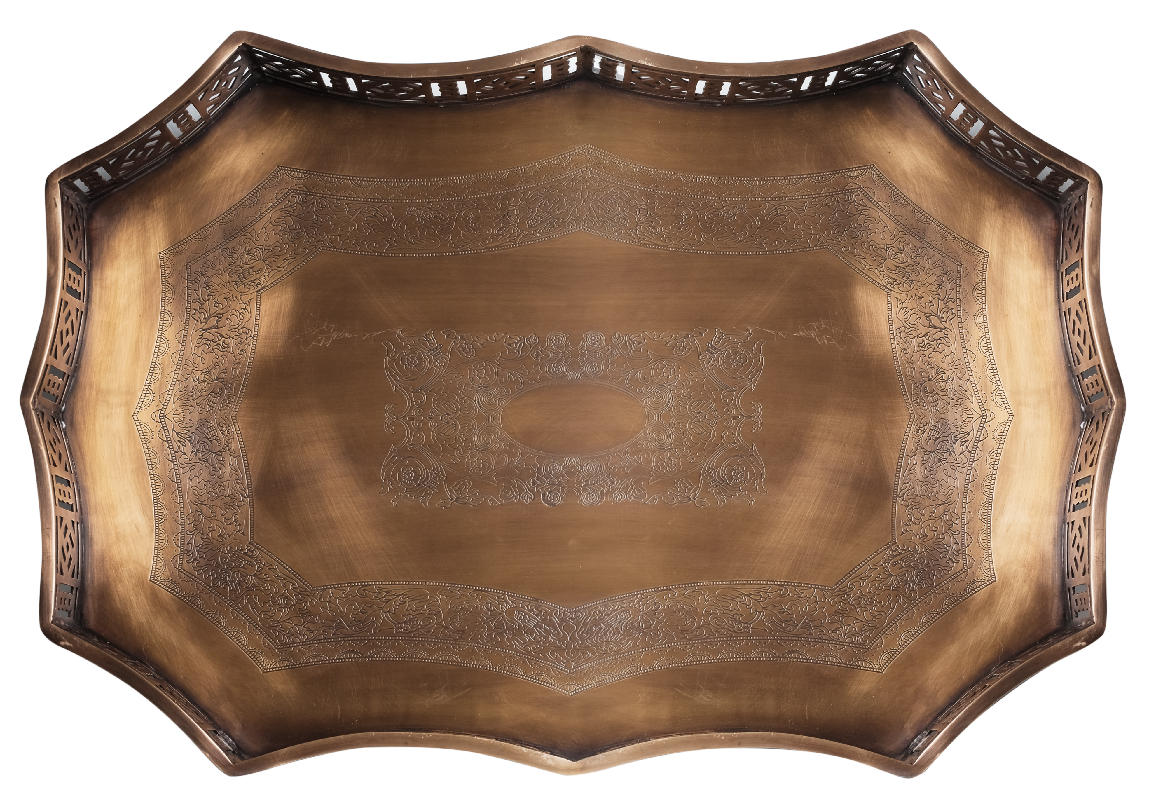 NEW! Incredible large Chippendale gallery tray in antique brass
