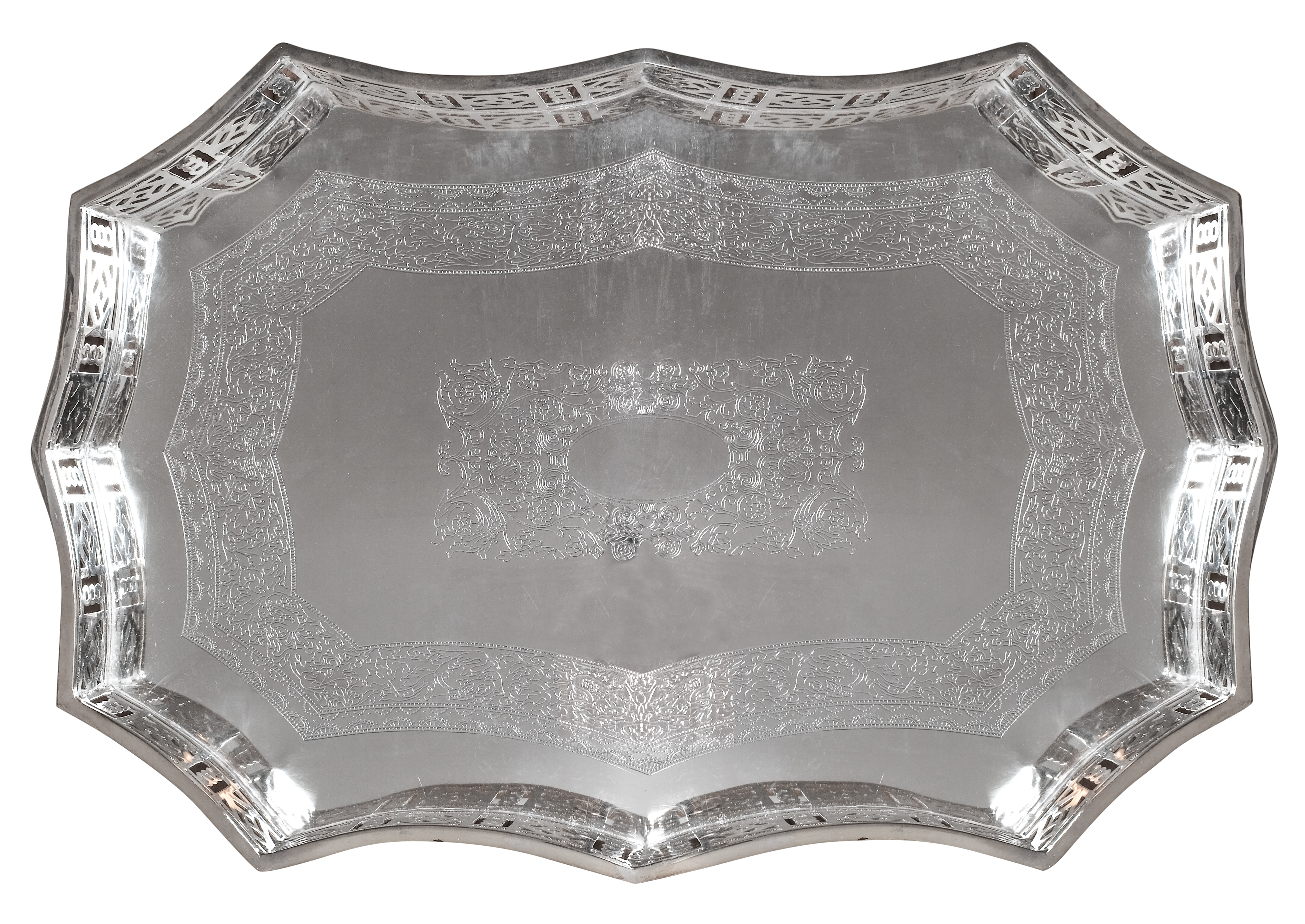 NEW! Incredible large Chippendale gallery tray in high quality silver-plate