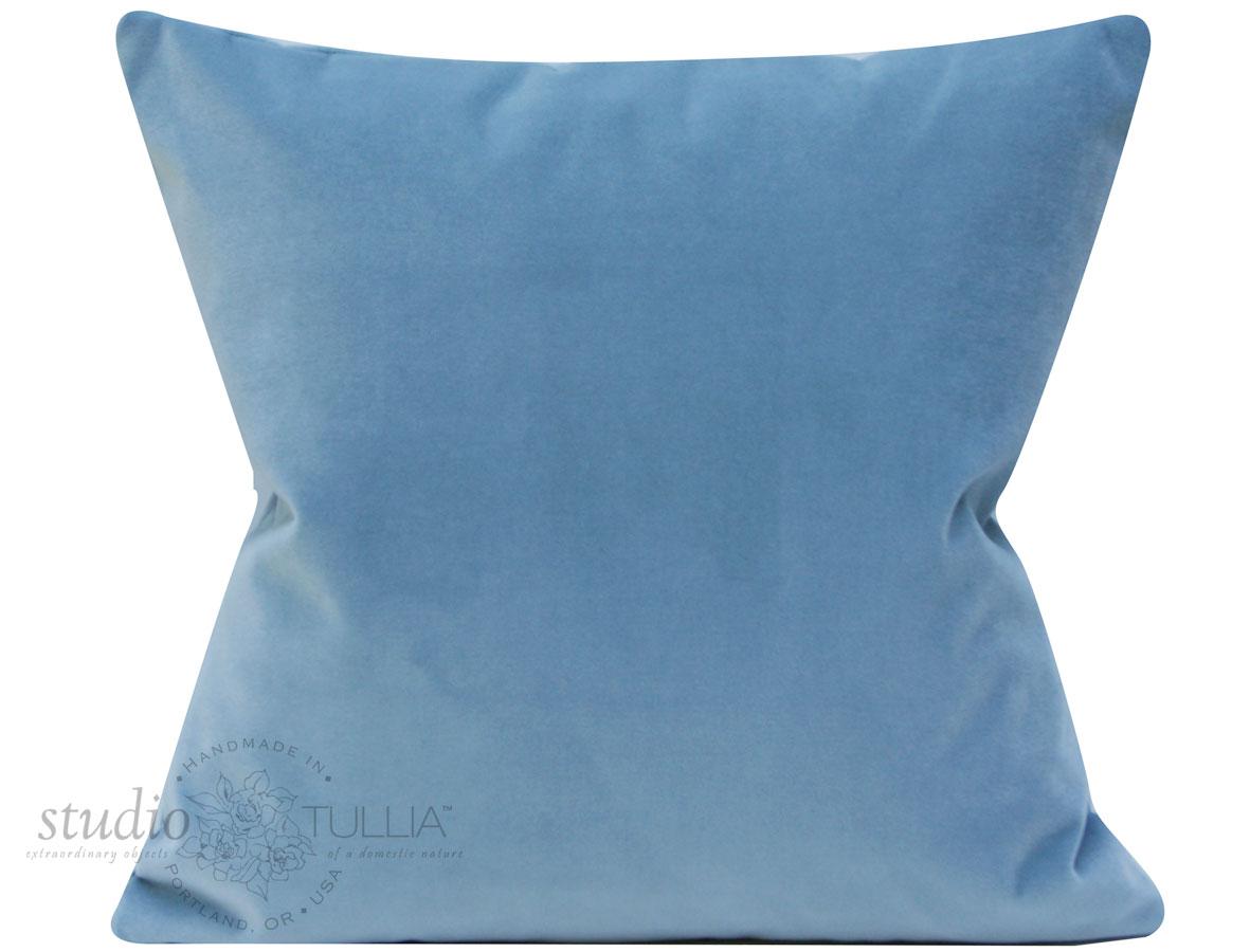 NEW! Incredible all over cotton velvet light blue pillow