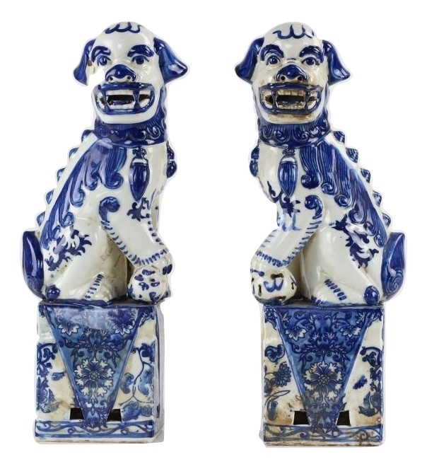 Wonderful pair of blue and white foo dogs