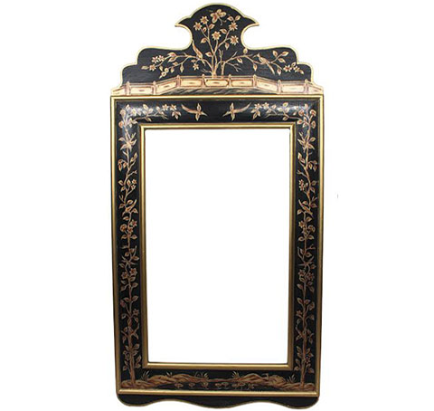 Black and Gold Wide Floral Mirror