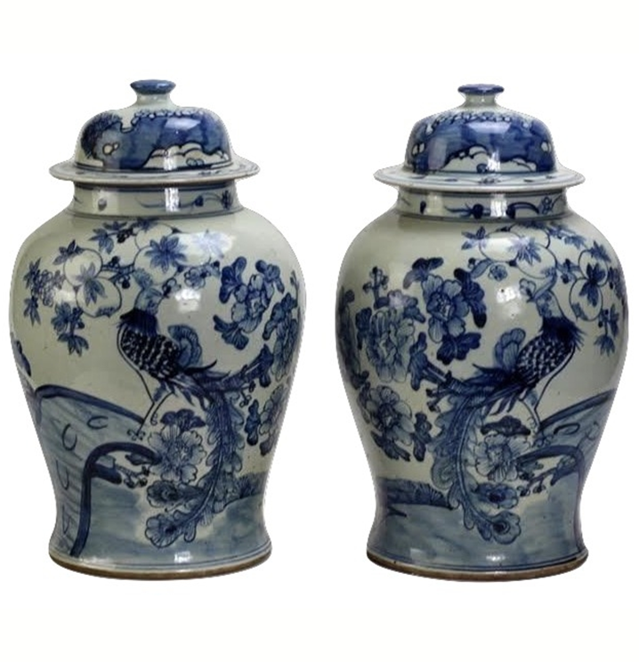 POPULAR PAIR OF BIRD JARS