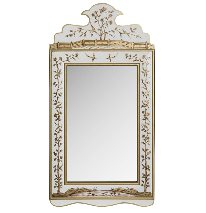Ivory and Gold Wide Floral Mirror