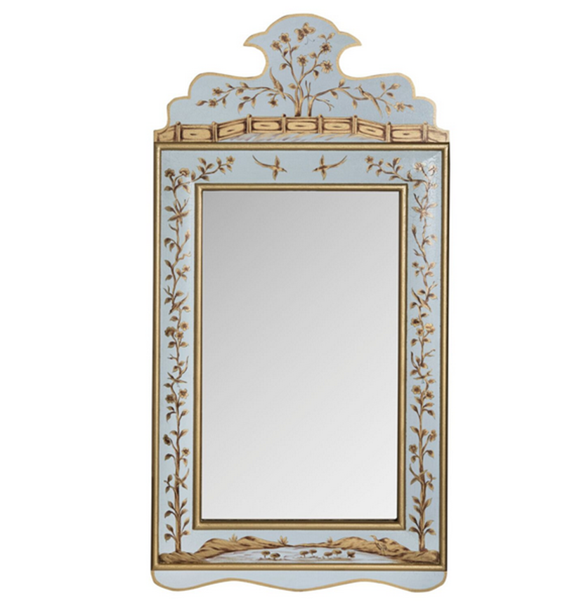 Pale Blue and Gold Wide Floral Mirror