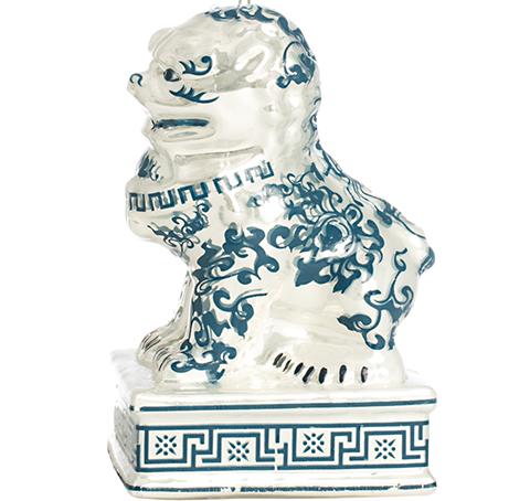 Darling Foo Dog Ornament in Blue and White
