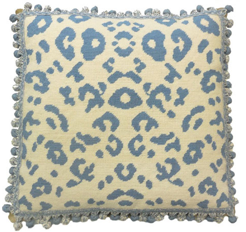 Blue Leopard Pillow
