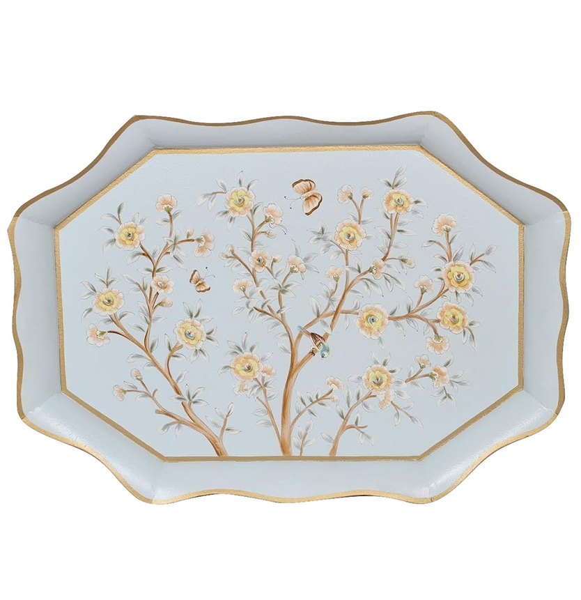 INCREDIBLE LARGE SCALLOPED GALLERY CHINOISERIE TRAY IN BLUE GOLD