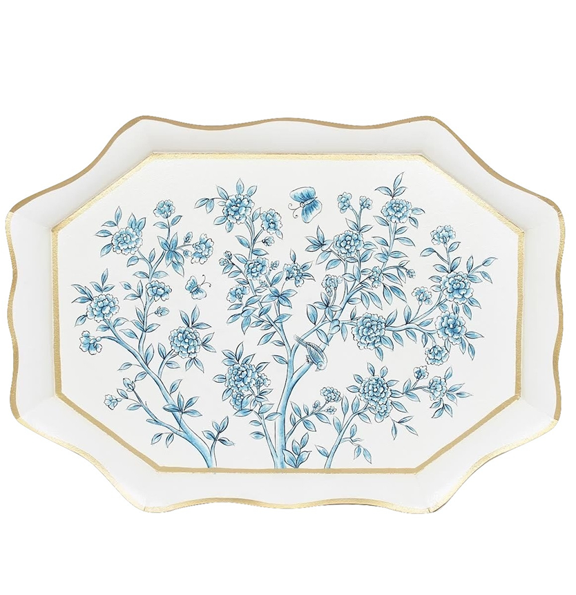 INCREDIBLE LARGE SCALLOPED GALLERY CHINOISERIE TRAY IN IVORY/BLUE