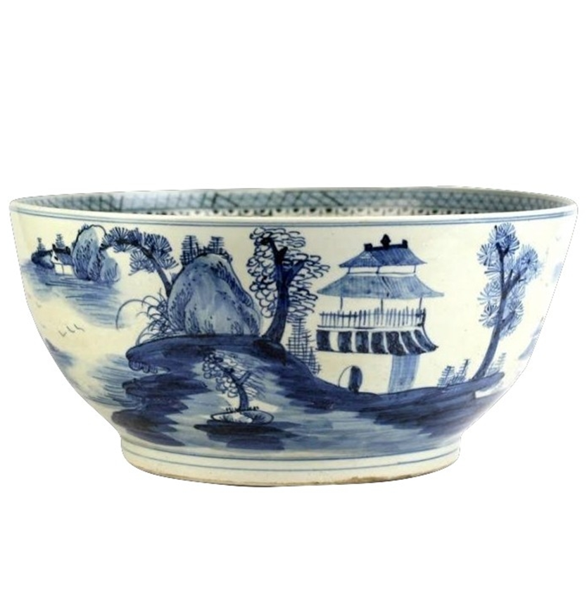 Large Village Scene Bowl