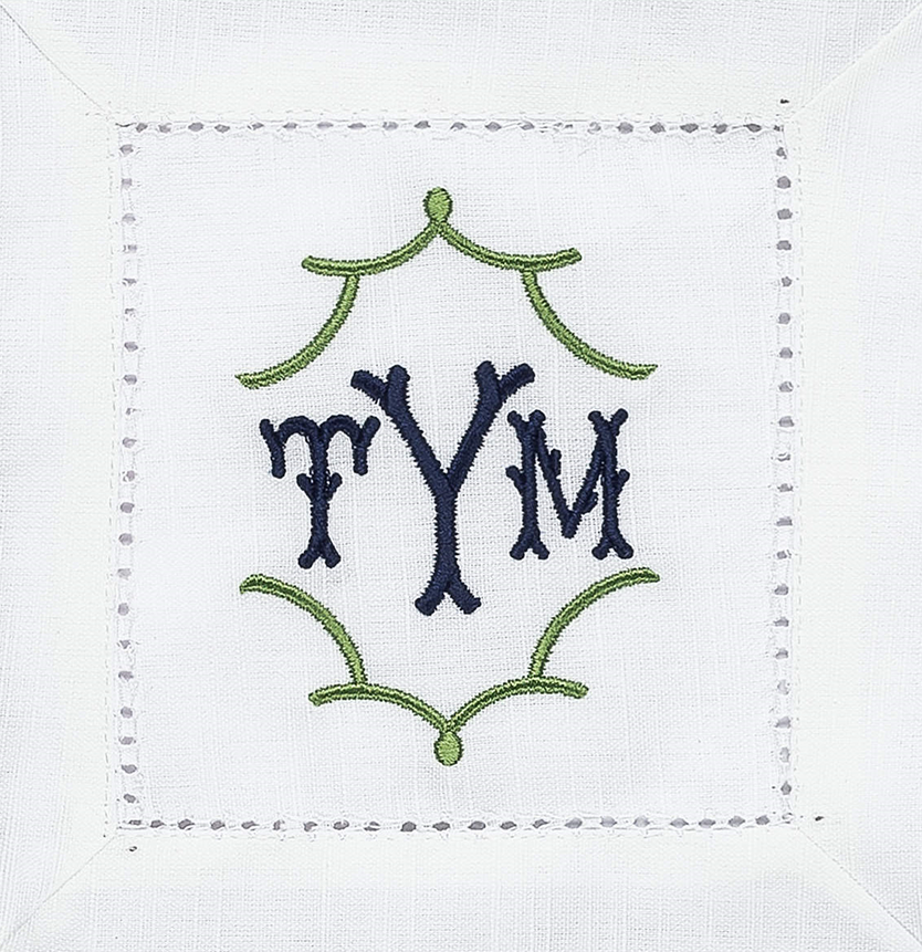 Custom monogrammed cocktail napkins - set of 12