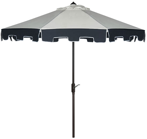 Ta119 Stylish Ivory Outdoor Scalloped Umbrella With Navy Trim