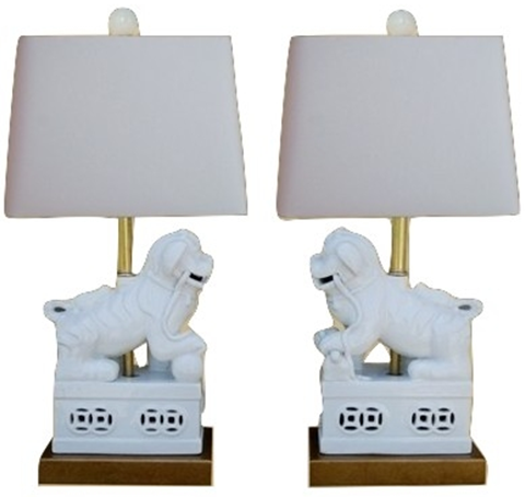 Amazing Pair of White Foo Dog Lamps