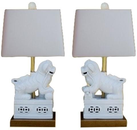 Amazing Pair of White Foo Dog Lamps