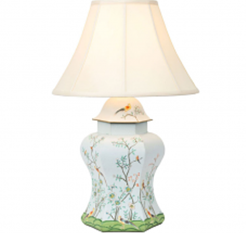 Spectacular scalloped lamp with all over chinoiserie scene in a pale powdery pale blue