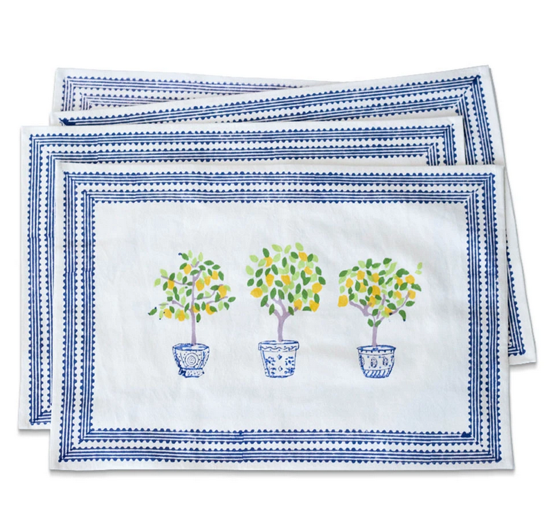 Fabulous new handblocked topiary placemats