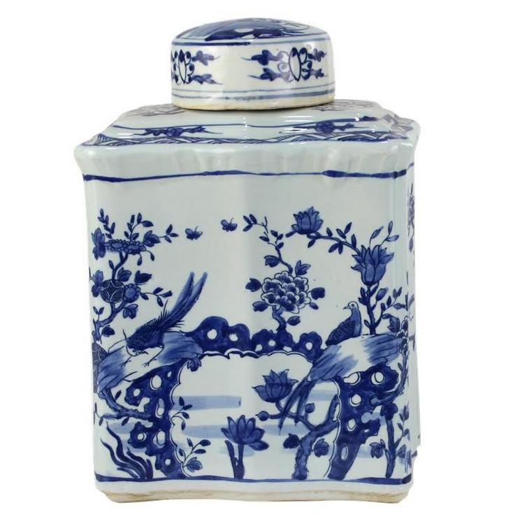 Scalloped Pheasant Floral Tea Jar