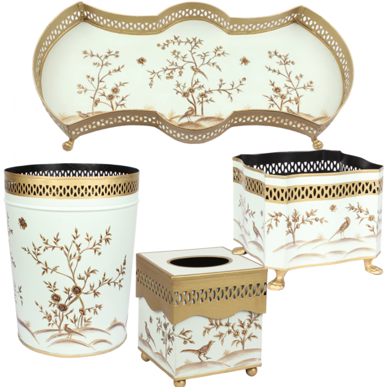 Fabulous four piece chinoiserie set in pale green/gold