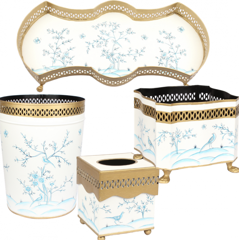 Fabulous four piece chinoiserie set in ivory/blue