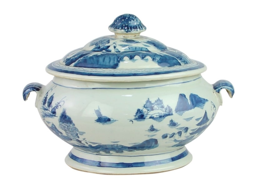 Fabulous two piece covered large porcelain tureen