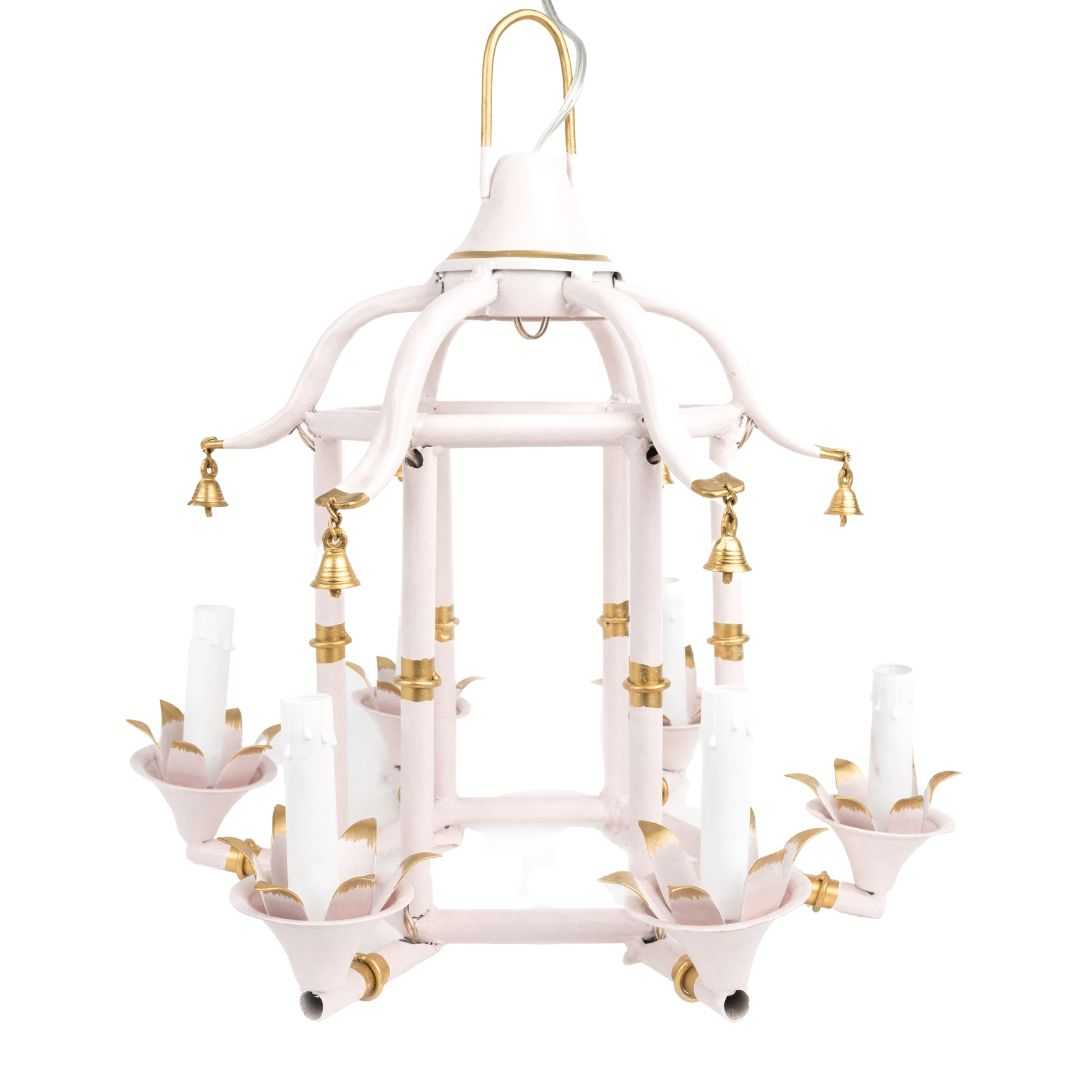 Incredible Pale Pink/Gold Chinoiserie Chandelier